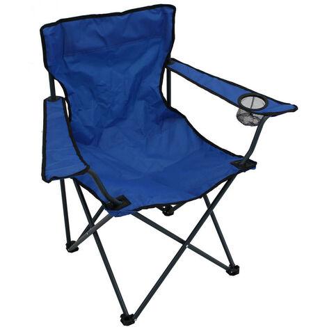 Poltrona Pieghevole Campeggio.Poltrona Pieghevole Campeggio Metallo Oxford Blu Per Spiaggia Mare Piscina Giardino