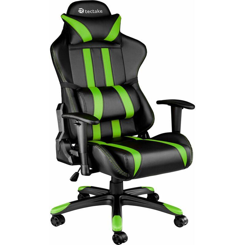 Tectake - Poltrona premium da ufficio stile racing - poltrona ufficio, poltrona scrivania, poltrona da scrivania - nero/verde - schwarz/grün