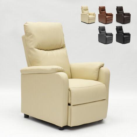 Poltrona Relax Modello Mia.Poltrona Relax Reclinabile Con Poggiapiedi In Ecopelle Giulia