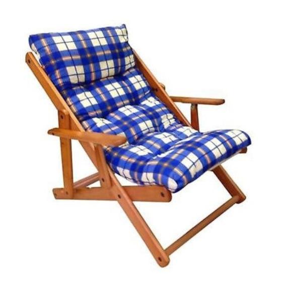 Cuscino Per Sdraio Legno.Poltrona Relax Sedia Sdraio Harmony In Legno Reclinabile Con Cuscino Blu Scozzese