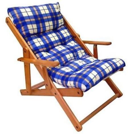 Sedia Relax Legno.Poltrona Relax Sedia Sdraio Harmony In Legno Reclinabile Con Cuscino Blu Scozzese