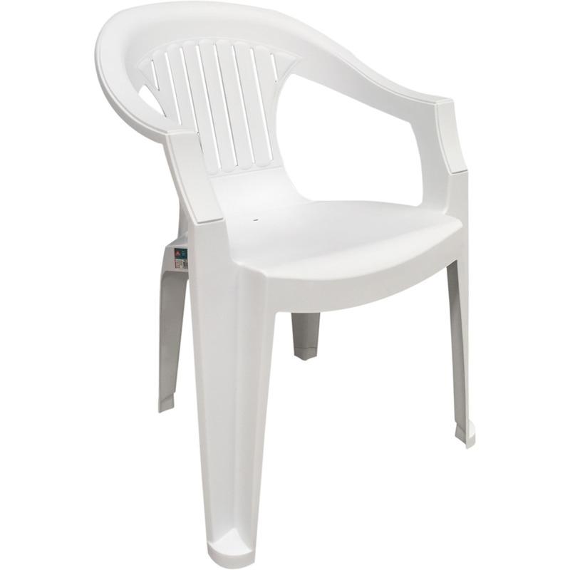 Sedie Da Esterno In Plastica.Poltrona Sedia Bianca Da Giardino Mare Plastica Mod Sole Grand