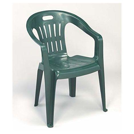 Sedie Resina Da Giardino.Sedia In Plastica Da Giardino Impilabile Piona Verde Minimo 4pz