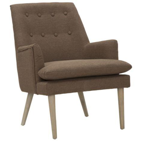 Poltrona sedia imbottita in legno marrone da interno for Sedia design marrone