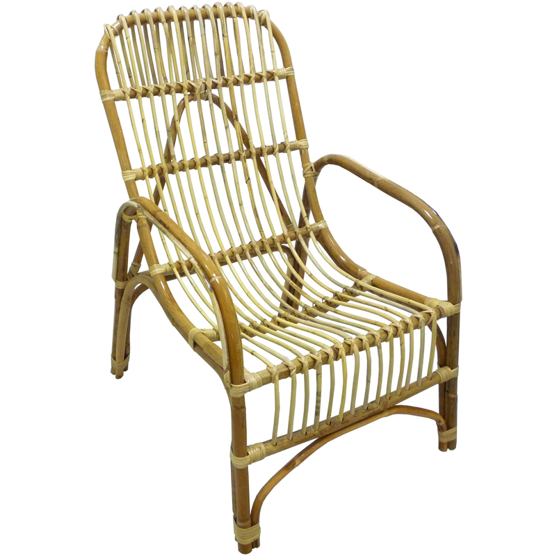 Poltrona sedia Manao in vimini bambù rattan naturale con cuscino per casa salotto