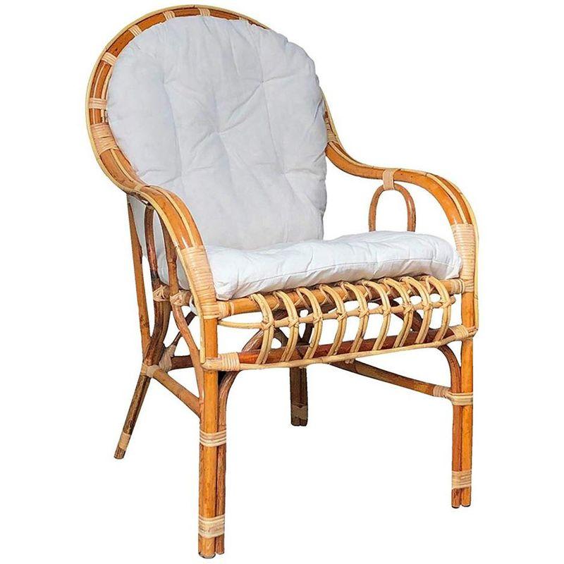 Mobili Vimini E Giunco.Poltrona Sedia Per Adulti Big Sole Con Cuscino Vimini Bambu Rattan