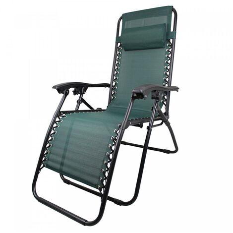 Sdraio Pieghevole Relax.Poltrona Sedia Sdraio Pieghevole Relax Reclinabile In Acciaio Per Esterno Comfort Verde
