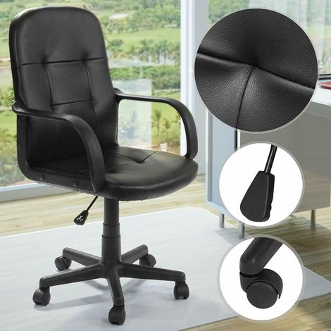 Poltrona ufficio ergonomica sedia ufficio scrivania girevole in ecopelle nera