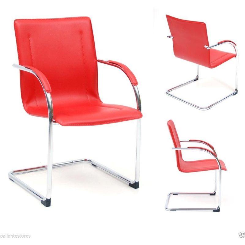 Poltrona ufficio sedia attesa slitta acciaio cromato eco pelle mod Stand rosso