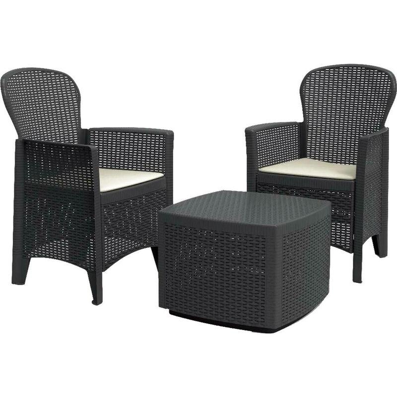 Salotto da giardino e terrazzo in plastica effetto rattan Tree IPAE-PROGARDEN - EDM