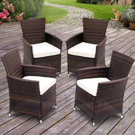 Poltrone sedie da giardino in poly rattan set 4 pz con for Poltrone da giardino