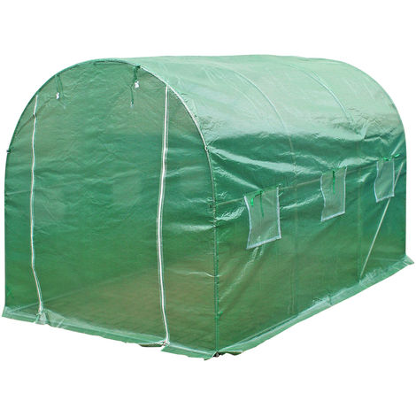 Poly Greenhouse PE Hoop Tunnel 300x200x200cm with Zips and Windows Cold Frame
