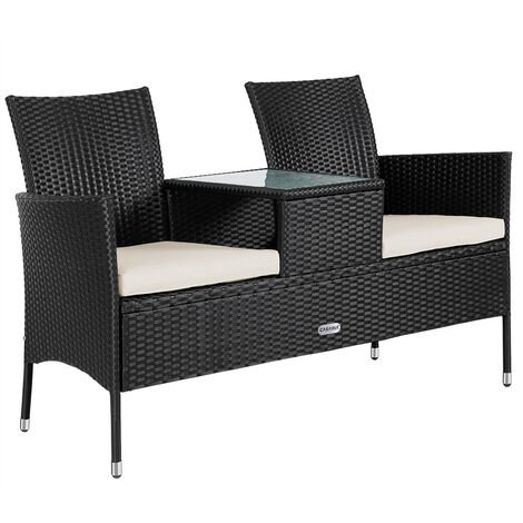 Poly Rattan Cinema Bench 2 Seater Table Tray Cushions & Pads Black Cream Anthracite