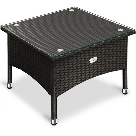 Poly Rattan Coffee Table Deuba Glass Tabletop Black Indoor Outdoor 50 x 50 x 45 cm