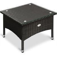Poly Rattan Coffee Table Deuba Glass Tabletop Black Indoor Outdoor 50 x 50 x 45 cm