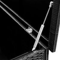 Poly Rattan Cushion Box Deuba Aluminum Frame Black Wicker On Wheels Rustproof 311 Liters