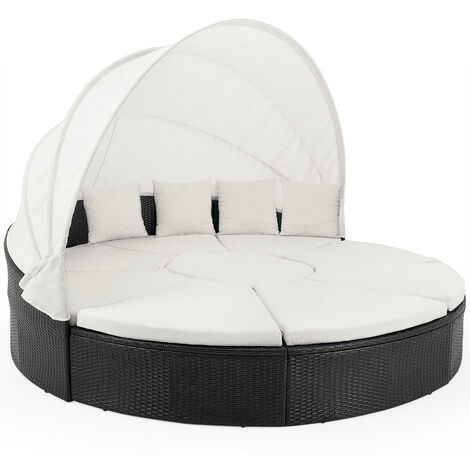 """main image of """"Poly Rattan Day Bed Ø230cm Sun Lounger with Canopy"""""""