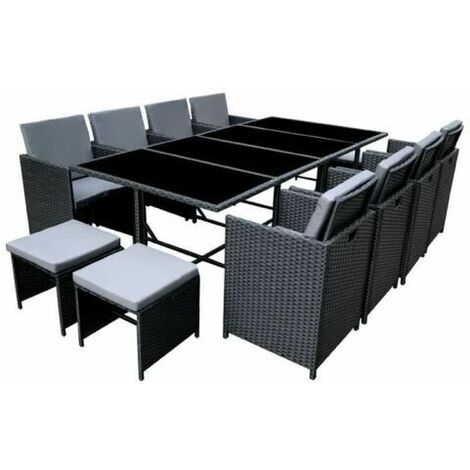 Poly Rattan Dining table Black lounge Outdoor garden furniture Cube 13P