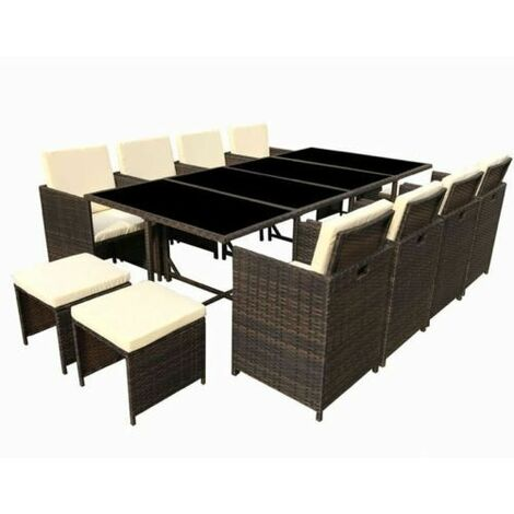 Poly Rattan Dining table Brown lounge Outdoor garden furniture Cube 13P