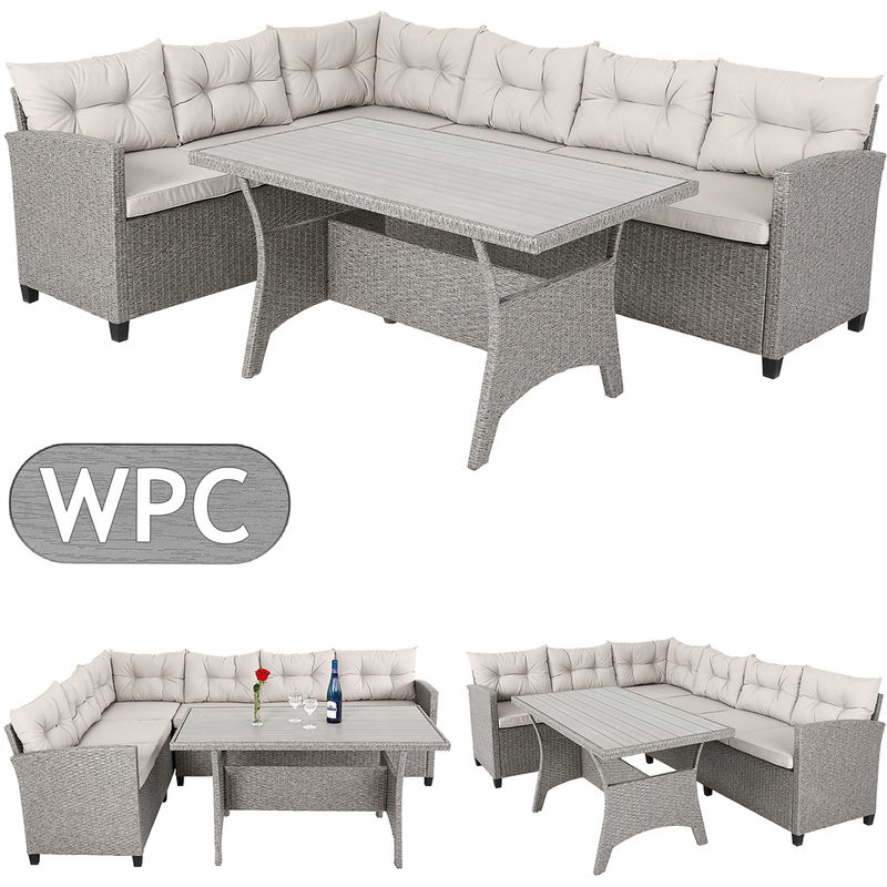 Poly Rattan Ecklounge Mit Wpc Tisch In Holzoptik Grau Beige