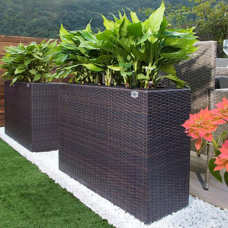 Poly Rattan Flower Plant Pot 95 x 27 x 60cm Brown
