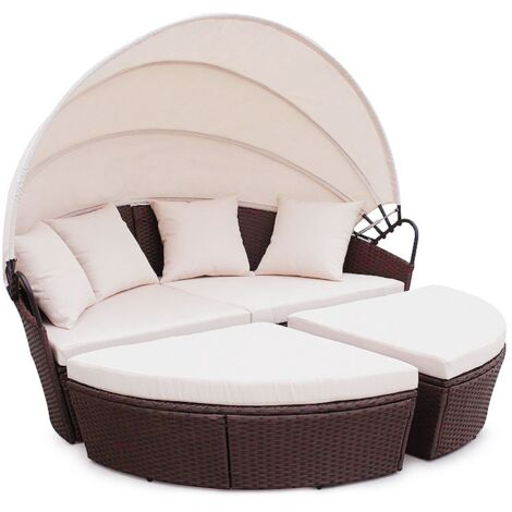 Poly Rattan Furniture Day Bed Bali Outdoor Patio Lounge Sofa Sun Roof Brown