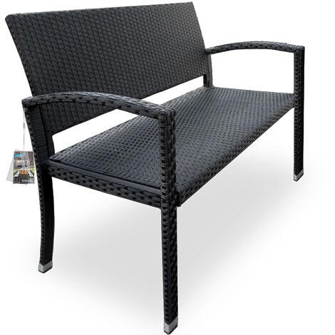 Poly Rattan Garden Bench 2 Seater Black