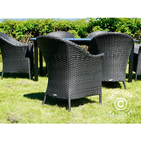 Poly rattan garden chair Key West, Black, 2 pcs.