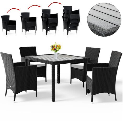 Poly Rattan Garden Dining Table Chairs Set WPC Black Patio Outdoor 4 6 8 Seater