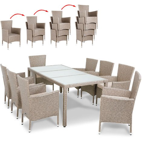 Poly Rattan Garden Furniture Dining Table and Chairs Set Deuba Cream Outdoor Patio Conservatory 8 Seater