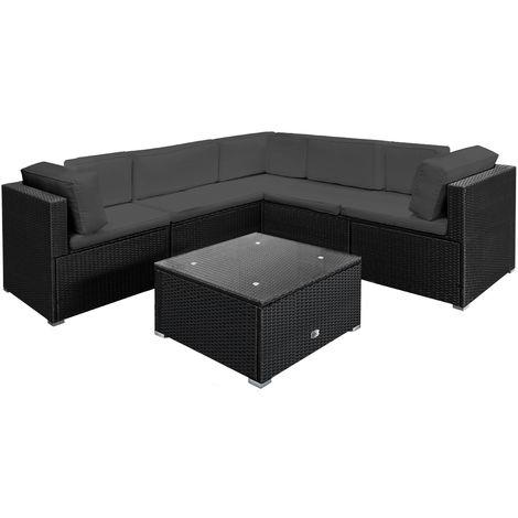 Poly Rattan Garden Furniture Lounge Corner Sofa Set - Black Anthracite Large 20pcs Polyrattan Outdoor Patio Sofa and Table Set