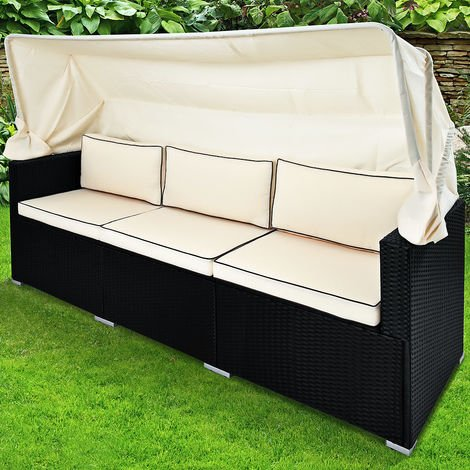 Poly Rattan Garden Furniture Set Black Sofa Bench Model Choice Canopy Outdoor Patio Wicker Day Bed (Rattan Sofa + Canopy)