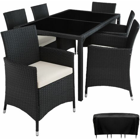 9c677f88b46d Poly rattan garden furniture set Lissabon 6+1 with protective cover ...