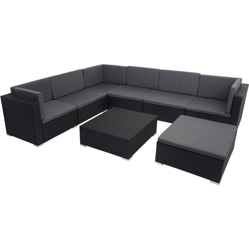 Poly-Rattan Garnitur HHG-022, Balkon-/Garten-/Lounge-Set Gartenmöbelset Sitzgarnitur Sofa ~ schwarz, Kissen dunkelgrau
