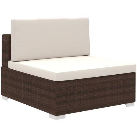 8-tlg. Garten-Lounge-Set mit Auflagen Poly Rattan Braun -