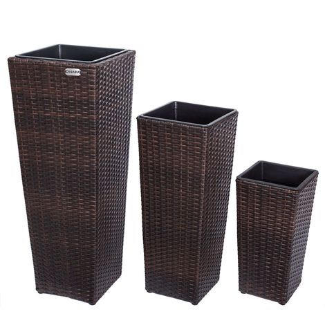 Poly Rattan Planter Set 3 Pcs Flower Outdoor Garden Patio Planters Square Tube