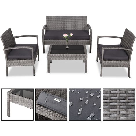 Poly Rattan Set Patio 7 Pieces 7cm Strong Seat Cushions Grey