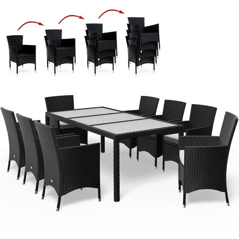 Poly Rattan Sitzgruppe 8 stapelbare Stühle + 7cm Auflagen Tisch Milchglas Sitzgarnitur Garten Gartenmöbel Set Schwarz - CASARIA