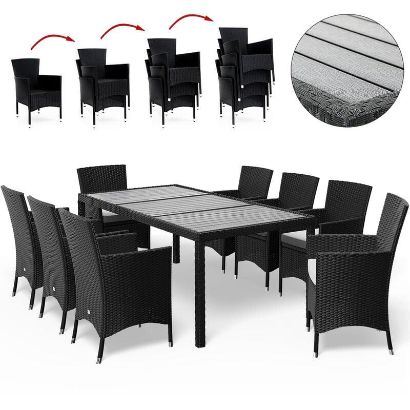 Poly Rattan Sitzgruppe WPC Tisch Stühle stapelbar Gartenmöbel Sitzgarnitur Garten Set Schwarz Sitzgruppe 8+1 - Casaria