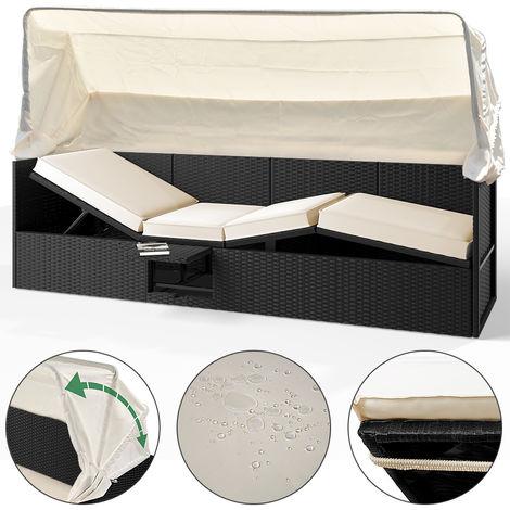 Poly Rattan Sofa Bench Sun Lounger Sun Canopy Cushion Table