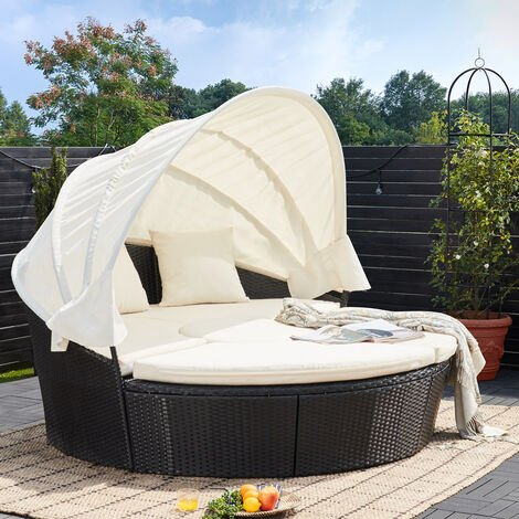 """main image of """"Poly Rattan Sun Day Bed - Ø 185 cm - Telescopic Table - 3 Pillows"""""""