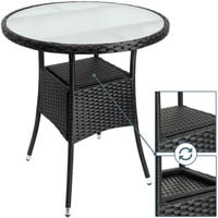Poly Rattan Table Ø 60 cm Black Round