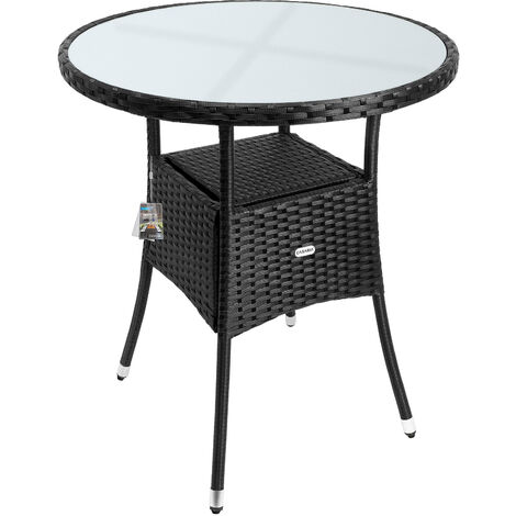 Deuba Poly Rattan Garden Side Table Small Black Round Outdoor Patio Cafe Bistro Glass Top Tea Coffee Wine Snack (60cm)