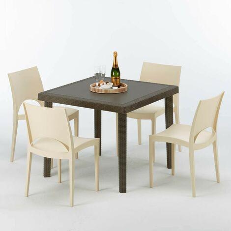Polyrattan Tisch 90x90.Poly Rattan Tisch Quadratisch Mit 4 Bunten Stühlen 90x90 Braun Brown Passion