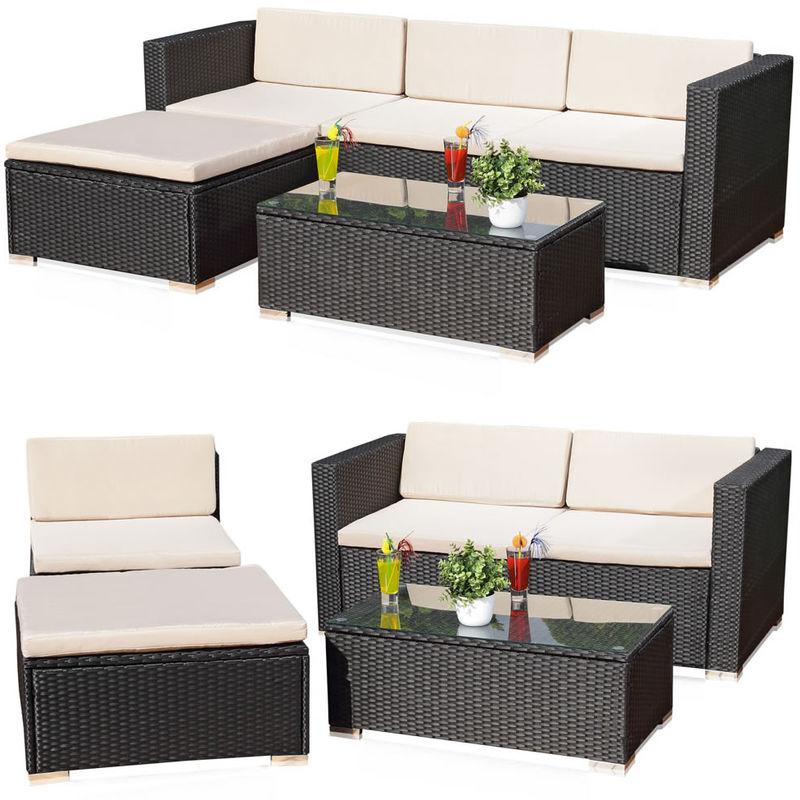 Poly-rotin lounge, salon de jardin, groupe de table, canapé et coussins, meubles de jardin noir