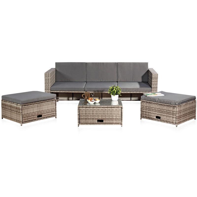 Poly-rotin, salon de jardin en rotin, gris, canapé, table avec 2 tabourets de salon en rotin