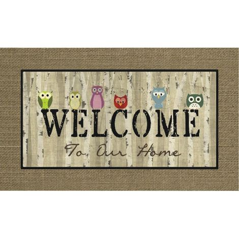 Polyamide Welcome Owls Rubber Backing Washable Mat Rug Carpet, Two Supplied