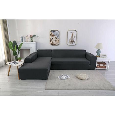 Polyester 3 + 2 sieges, housse de canape d angle, forme L, housse de protection pour meubles de maison (noir)