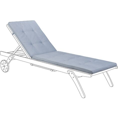 Polyester Outdoor Sun Lounger Cushion Water Resistant Garden Blue Cesana
