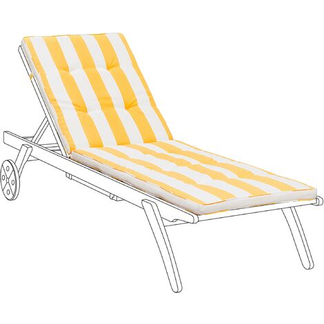 Polyester Outdoor Sun Lounger Cushion Water Resistant Garden Yellow-White Cesana